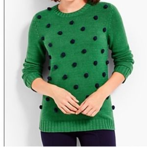 Talbots Green w/Navy Blue Pom Pom Sweater